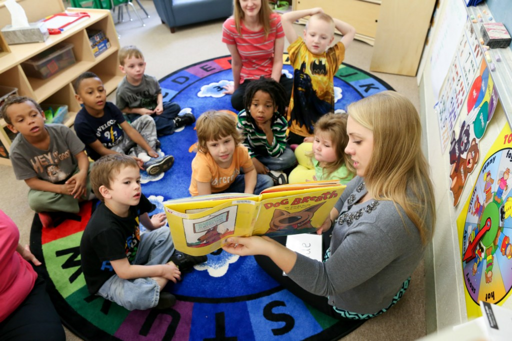 OSU speech language pathology students carried out a pre-K literacy intervention program at Hilltop Preschool to help preschoolers with underdeveloped speech and language skills. Courtesy of Janell Strouse