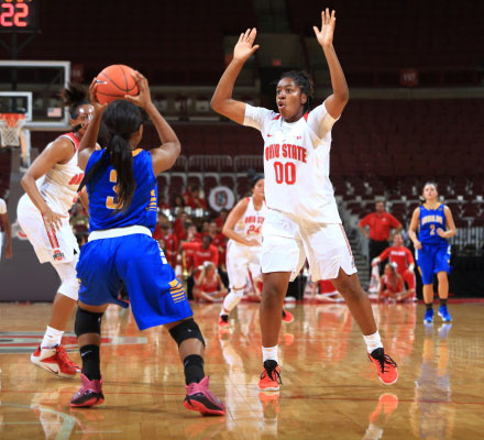 Former OSU freshman guard Kaylan Pugh (00) guards in an exhibition game against Ursuline College on Nov. 1 at the Schottenstein Center. Credit: Courtesy of OSU