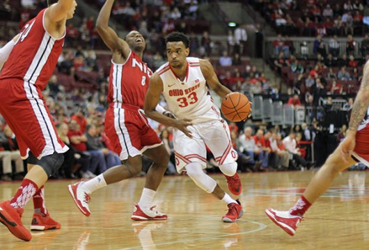 OSU sophomore forward Keita Bates-Diop (33) dribbles the ball during a game against Northern Illinois on Dec. 16 at the Schottenstein Center. Credit: Samantha Hollingshead | Photo Editor
