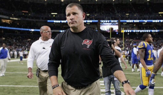 Then-Tampa Bay Buccaneers coach Greg Schiano leaves the field following a 23-13 loss to the St. Louis Rams in this Dec. 22, 2013. Credit: Courtesy of TNS