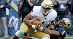 Pitt's Ejuan Price (5) sacks Notre Dame quarterback DeShone Kizer in the first quarter at Heinz Field in Pittsburgh, on Saturday, Nov. 7, 2015. Notre Dame won, 42-30. (Matt Freed/Pittsburgh Post-Gazette/TNS)