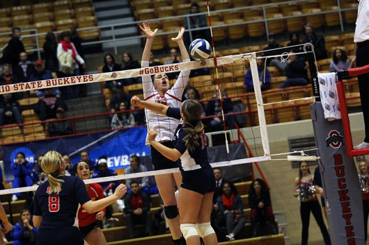 OSU senior outside hitter Katie Michell (17) during a game against Robert Morris in the NCAA tournament on Dec. 4 at St. John Arena. OSU won 3-0. Credit: Samantha Hollingshead | Photo Editor