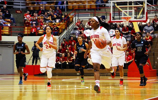 OSU senior guard Ameryst Alston (14) dribbles the ball during a game against Wagner on Nov. 22 at St. John Arena. Credit: Elizabeth Tzagournis | Lantern Photographer