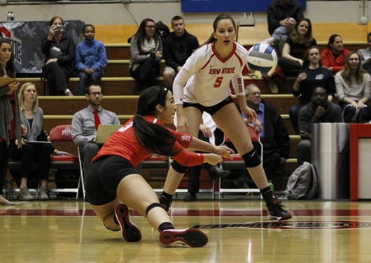 OSU junior defensive specialist Valeria León (3) during a game against Robert Morris in the NCAA tournament on Dec. 4 at St. John Arena. OSU won/lost. Credit: Samantha Hollingshead   Photo Editor