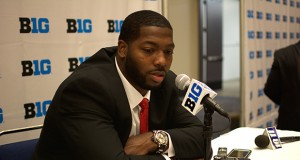 OSU senior defensive tackle Adolphus Washington speaks to the media during Big Ten Media Days in Chicago in July 2015. Credit: Kevin Stankiewicz | Assistant Sports Editor