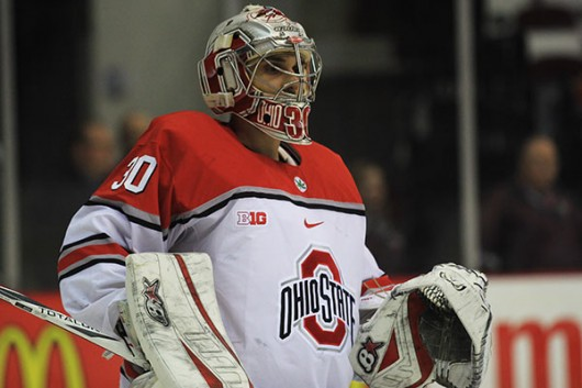OSU junior goalkeeper Christian Frey (30) during a game against Michigan State on Jan 29. at the Schottenstein Center. Credit: Samantha Hollingshead | Photo Editor