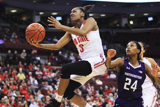 OSU then-sophomore guard Kelsey Mitchell (3) goes up for a shot during a game against Northwestern on Jan. 28 at the Schottenstein Center. Credit: Lantern file photo