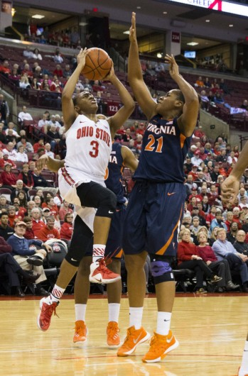 OSU guard Kelsey Mitchell (3) takes a shot in front of Virginia Cavaliers forward Lauren Moses (21)at the Schottenstein Center on Dec. 21. Credit: Greg Bartram-USA TODAY Sports