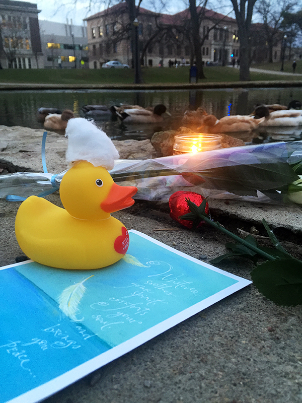 A small memorial is placed by mirror lake. Credit: Alex Drummer | Managing Editor
