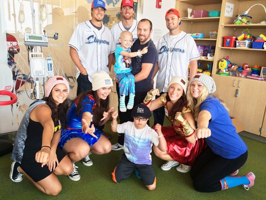 The Love Your Melon crew with members of the Columbus Clippers and some of the kids that they met at Nationwide Children's. Credit: Courtesy of Laura Vanic