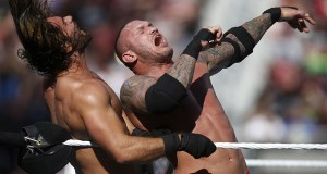 WWE's Randy Orton, right, hits Seth Rollins during WrestleMania at Levi's Stadium on Sunday, March 29, 2015 in Santa Clara, Calif. (Nhat V. Meyer/Bay Area News Group/TNS)
