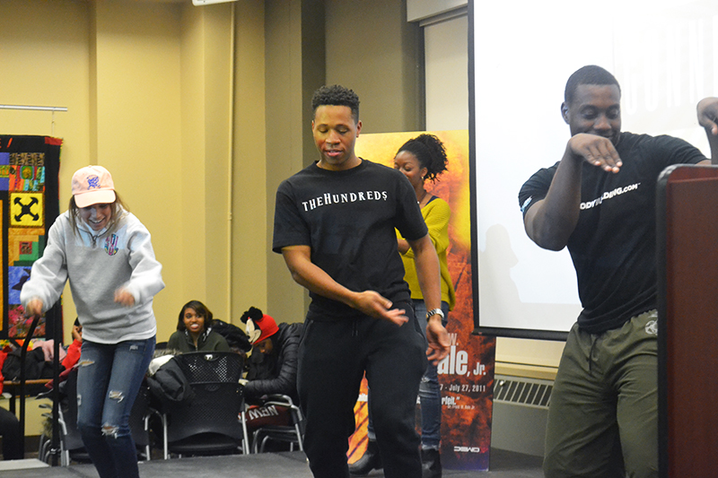 Ohio State students doing the Shoki when AYL opens floor to audience at Afro-Latino Connection on Jan. 21. Credit: Janaya Greene | Lantern reporter