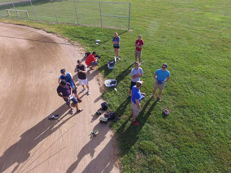 Members of the Ohio State Drone Club at a meetup from the view of a drone. Credit: Courtesy of Joshua Cheston