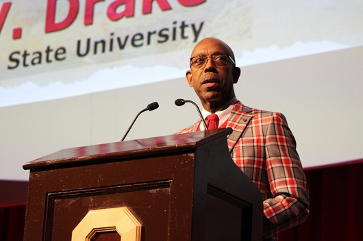 University President Michael Drake speaks at Brutus' 50th birthday gala on Nov. 6 at the Ohio Union. Credit: Michael Huson | Campus Editor