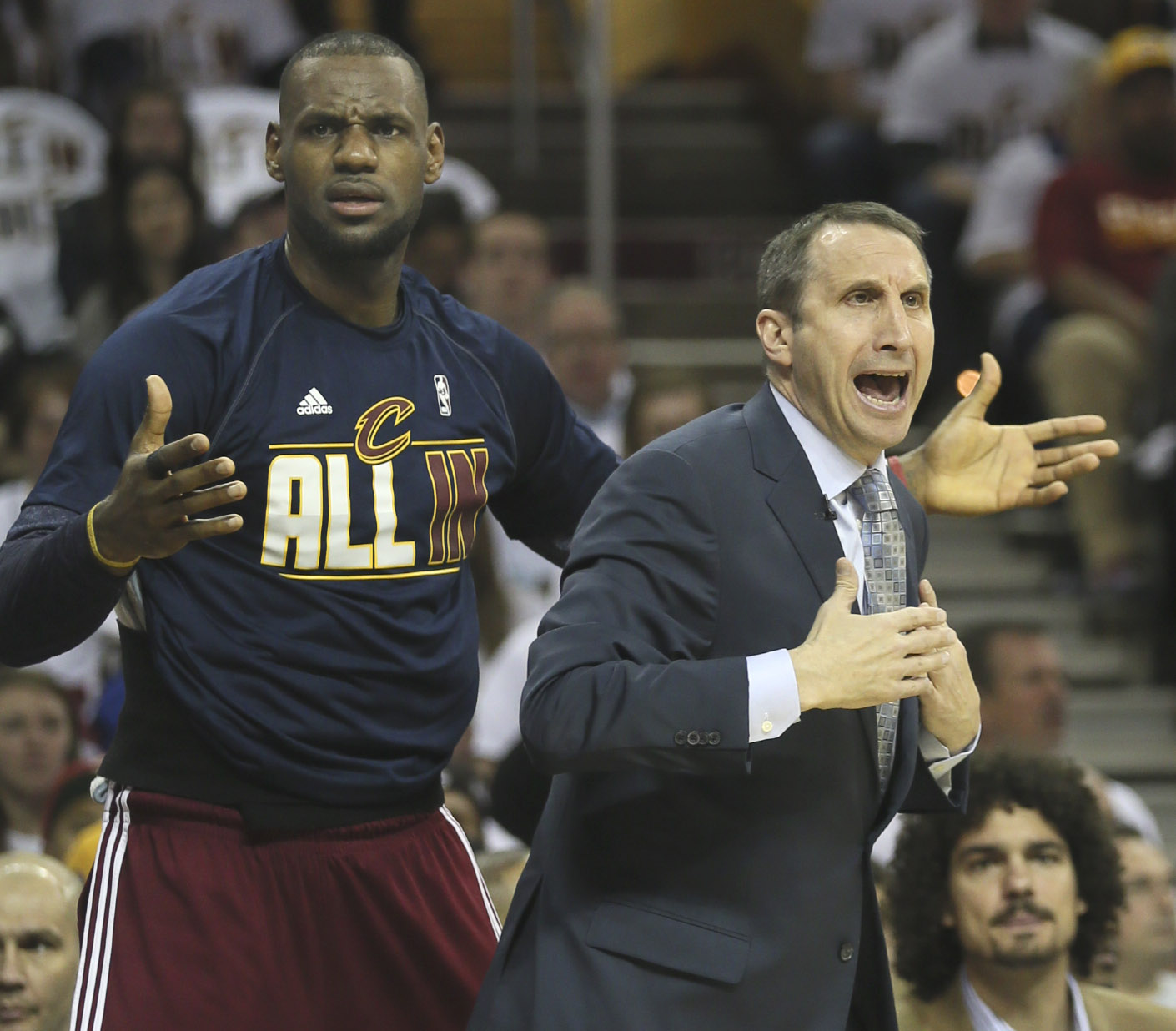 Cleveland Cavaliers' LeBron James and head coach David Blatt question an official's call during the first quarter on Sunday, April 19, 2015, at Quicken Loans Arena in Cleveland, Ohio. Credit: Courtesy of TNS