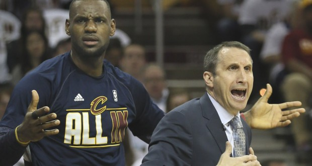 Cleveland Cavaliers' LeBron James and head coach David Blatt question an official's call during the first quarter on Sunday, April 19, 2015, at Quicken Loans Arena in Cleveland, Ohio. (Phil Masturzo/Akron Beacon Journal/TNS)