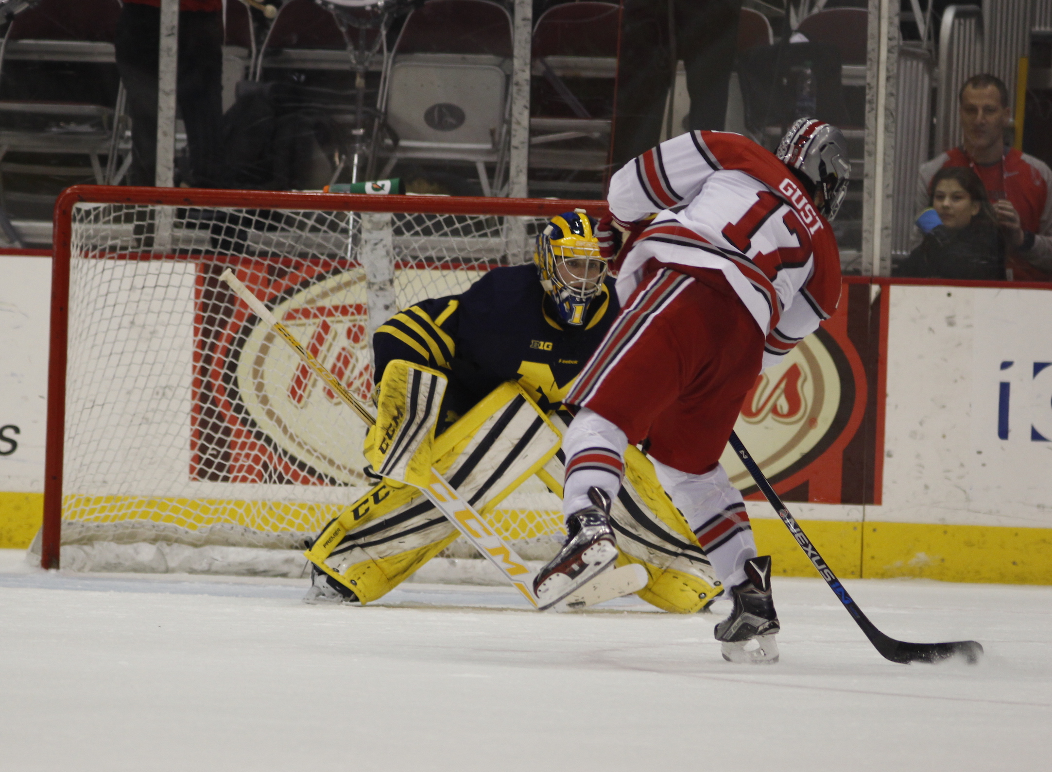 OSU junior forward David Gust attempts a shot during a shootout in a game against Michigan on Jan. 15 at the Schottenstein Center. OSU won in the shootout. Credit: Kevin Stankiewicz | Asst. Sports Editor