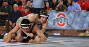 OSU redshirt senior Johnni DiJulius competes in a match against Nebraska on Jan. 17. Credit: Courtesy of OSU