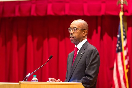 University President Michael Drake speaks at the OSU University Address at the William B. Saxbe Law Auditorium on Jan. 21. Credit: Lantern File Photo