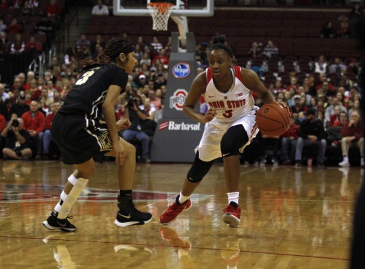 OSU sophomore guard Kelsey Mitchell (3) drives to the hoop while Purdue freshman guard Tiara Murphy (3) drives to slow her down in a game on Jan. 17 at the Schottenstein Center. OSU won, 90-70. Credit: Kevin Stankiewicz | Asst. Photo Editor