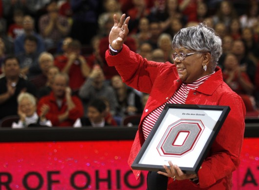 Mamie Rallins, the first African-American female coach at OSU, thanks the crowd for its applause after she received the Phyllis Bailey Career Achievement Award during a women's basketball game on Jan. 17. Credit: Kevin Stankiewicz | Asst. Sports Editor