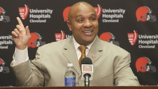 Cleveland Browns coach Hue Jackson answers questions from the media during a news conference at the team's headquarters on Jan. 13, in Berea, Ohio. Credit: Courtesy of TNS