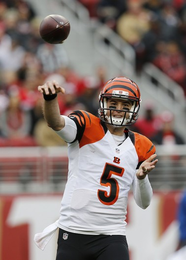 Cincinnati Bengals quarterback AJ McCarron (5) passes against the San Francisco 49ers in the second quarter at Levi's Stadium in Santa Clara, California, on Dec. 20.