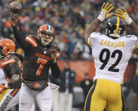Cleveland Browns quarterback Austin Davis attempts a pass during a game against the  Pittsburgh Steelers on Jan. 3, at FirstEnergy Stadium in Cleveland, Ohio. Courtesy of TNS