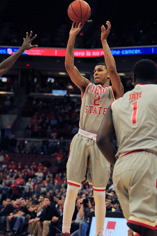 OSU junior forward Marc Loving (2) attempts a shot during a game against Rutgers on Jan. 13 at the Schottenstein Center. Credit: Samantha Hollingshead | Photo Editor