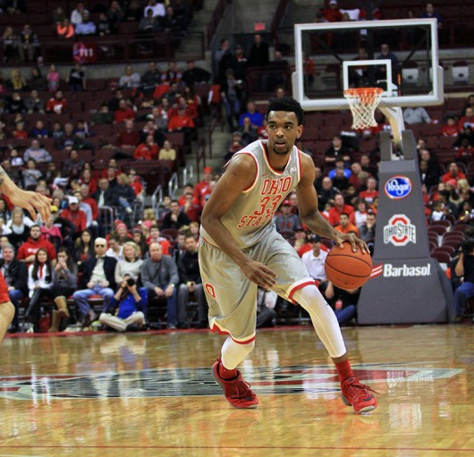 OSU sophomore forward Keita Bates-Diop (33) during a game against Rutgers on Jan. 13 at the Schottenstein Center. Credit: Samantha Hollingshead   Photo Editor