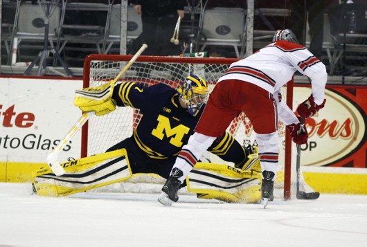 OSU freshman forward Dakota Joshua (8) scores the game-winning goal in a shootout against Michigan on Jan. 15 at the Schottenstein Center. Credit: Kevin Stankiewicz | Asst. Sports Editor
