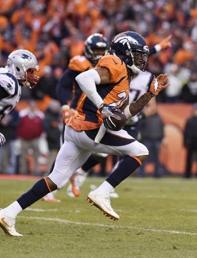 Broncos cornerback and former OSU player Bradley Roby sprints out of the end zone after an interception on a two-point conversion during the AFC Championship game on Jan. 24 at Sports Authority Field at Mile High in Denver. Credit: Courtesy of TNS