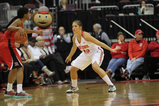 OSU senior guard Cait Craft (13) defends during a game against Rutgers on Jan. 10 at the Schottenstein Center. Credit: Samantha Hollingshead | Photo Editor