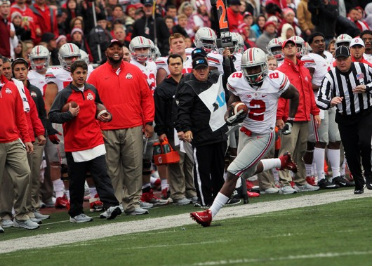 OSU then-junior H-back Dontre Wilson (2) runs with the ball during a game against Indiana in Bloomington, Indiana. Credit: Samantha Hollingshead / Photo Editor