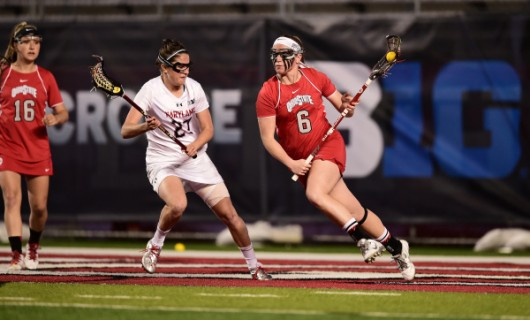 OSU then-junior attacker Rainey Hodgson (6) during a game against Maryland on May 1. Credit: Courtesy of Ben Soloman