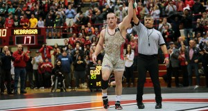 OSU junior Kyle Snyder declared victor in a bout against Nebraska on Jan. 17, 2016. Credit: Lantern File Photo