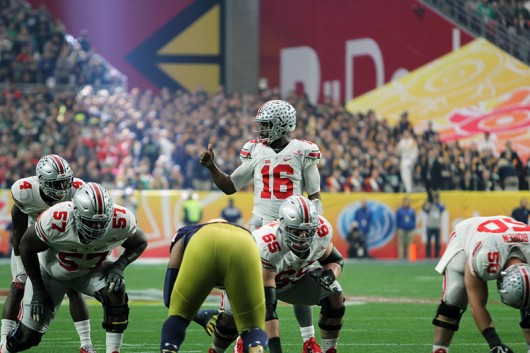 OSU then-redshirt sophomore quarterback J.T. Barrett (16)  during a game against Notre Dame in the Fiesta Bowl on Jan. 1 at University of Phoenix Stadium in Glendale, Arizona. Photo Credit: Lantern file photo