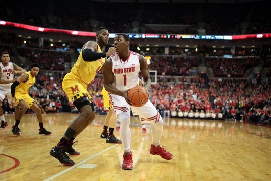 OSU sophomore forward Jae'Sean Tate (1) carries the ball during a game against Maryland on Jan. 31 at the Schottenstein Center. OSU lost, 61-66. Credit: Muyao Shen | Asst. Photo Editor