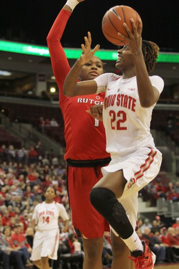 OSU sophomore forward Alexa Hart (22) attempts a shot during a game against Rutgers on Jan. 10 at the Schottenstein Center. Credit: Samantha Hollingshead   Photo Editor