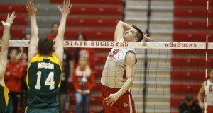 National Player of the Year Nicolas Szerszen (9) hits a ball at the net during a match against George Mason on Jan. 15.  Credit: Courtesy of OSU