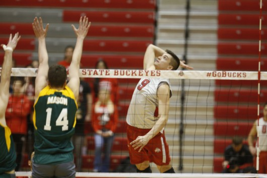 OSU sophomore Nicolas Szerszen (9) prepares to spike the ball during a match against George Mason on Jan. 15. OSU won 3-0. Credit: Courtesy of OSU