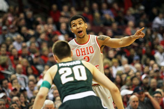 OSU junior forward Marc Loving (2) yells out during a game against Michigan State on Feb. 23 at the Schottenstein Center. Credit: Samantha Hollingshead | Photo Editor
