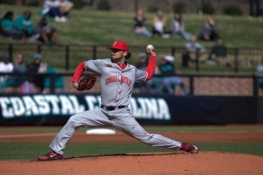 OSU junior left-hander Tanner Tully (16) delivers a pitch against Coastal Carolina on Feb. 27. OSU won 6-4. Credit: Courtesy of OSU