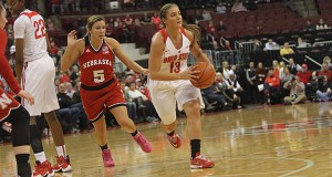 OSU senior guard Cait Craft (13) looks to make a pass during a game against Nebraska on Feb. 18 at the Schottenstein Center. Credit: Samantha Hollingshead | Photo Editor