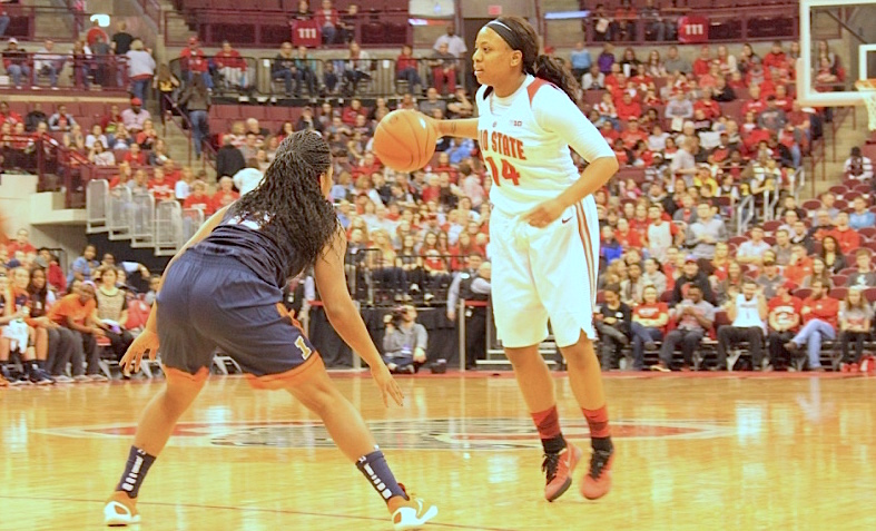 OSU senior guard Ameryst Alston sets the offense during a game against Illinois on Feb. 21 at the Schottenstein Center. OSU won, 117-74. Credit:  Brooke Profitt | Lantern photographer