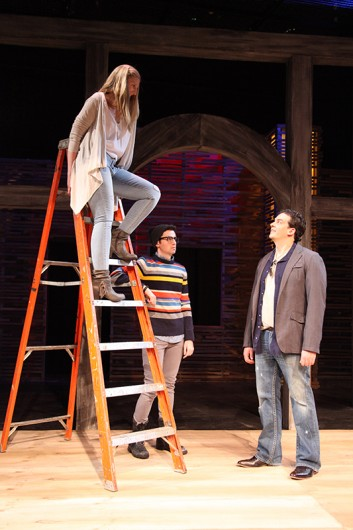 (Left to Right) Linnea Bond as Nina, Joe Kopyt as Con and Blake Edwards as Doyle in The Ohio State University Department of Theatre's production of Stupid F---king Bird. Credit: Courtesy of Matt Hazard