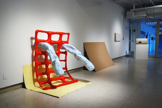 """First-year MFA Exhibition, pictured from left to right: Alicia Little's """"To slowly unravel, it did, and then it didn't,"""" Max Fletcher's """"Stack,"""" Niko Dimitrijevic's """"Call"""" and Niko Dimitrijevic's """"Response."""" Credit: Courtesy of Hopkins Hall Gallery."""