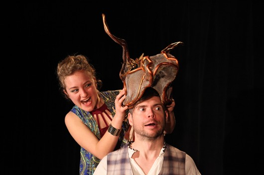 """Jennifer Geiger (left) as Puck and Bryan Arnold (right) as Bottom in OSU department of theater's """"A Midsummer Night's Dream."""" Credit: Courtesy of Melissa Lee"""