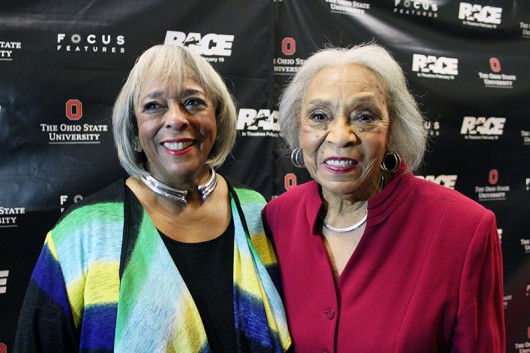 "Marlene Owens Rankin and Gloria Owens Hemphill, Jesse Owen's daughters, at the Feb. 15 showing of the movie ""Race"" at the Mershon Center. Credit: Michael Huson / Campus Editor"