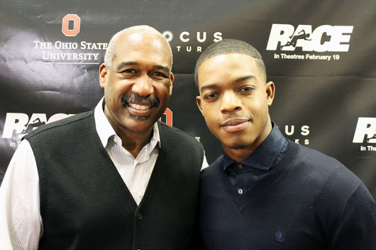 """OSU Director of Athletics and Vice President Gene Smith and actor Stephan James, who plays Jesse Owens in the movie """"Race,"""" at the Feb. 15 showing at the Mershon Center. Credit: Michael Huson / Campus Editor"""